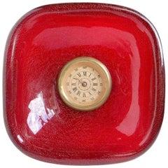Seguso Vetri d'Arte Murano Red Gold Flecks Italian Art Glass Deco Desk Clock