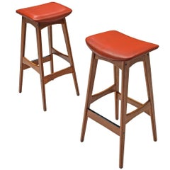 Johannes Andersen Pair of Teak Bar Stools