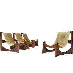 Rare Brazilian Lounge Chairs in Leather and Wood