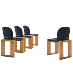 Afra and Tobia Scarpa Chairs in Black and Walnut for Cassina