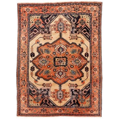 Antique Ivory Background Persian Heriz Rug