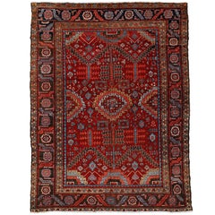 Antique Persian Heriz Rug with All-Over Pattern