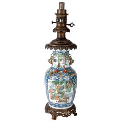 19th Century Chinese Rose Medallion Vase or Lamp