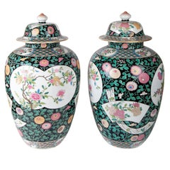 Pair of 19th Century Chinese Famille Noir Style Vases