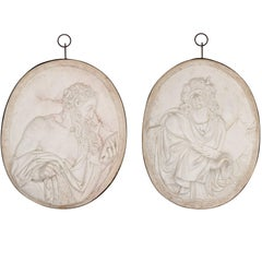 Two Large Sculpted Marble Relief Plaques of St John and St James