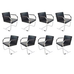 Black Leather Steel structure Chairs Brno Knoll Style, 1990s