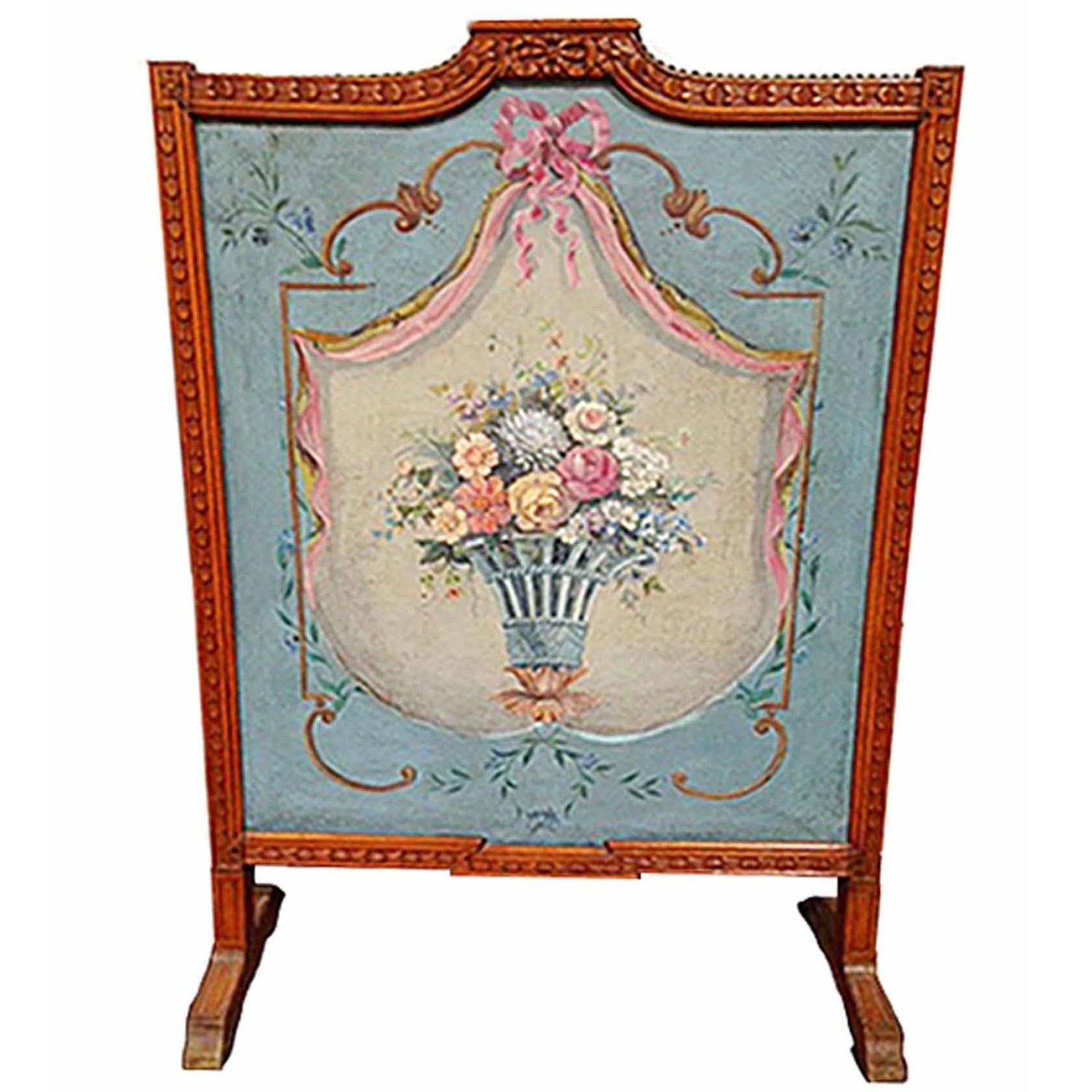 hand painted fireplace screen circa 18th century at 1stdibs