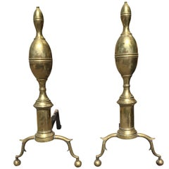 19th Century Brass Federal Andirons, Double Lemons