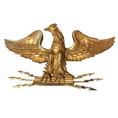 20th Century Impressive Giltwood Eagle Holding Metal Arrows
