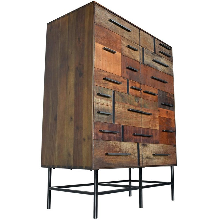 Russell by Rochdale Spears Contemporary Patchwork Brutalist Armoire Cabinet