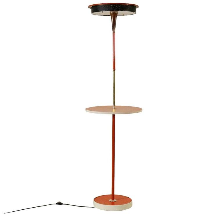 Floor Lamp Lacquered Metal Brass Plexiglas Vintage, Italy, 1960s