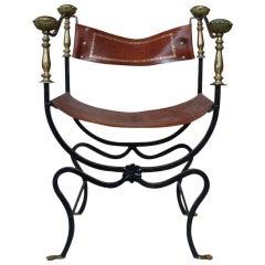 Italian Iron Campaign Chair, 1920s