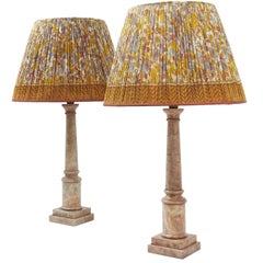 Pair of Italian Alabaster Column Lamps, circa 1950