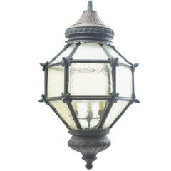 French Bronze Hexagonal Diamond Shaped Lantern, 19th Century