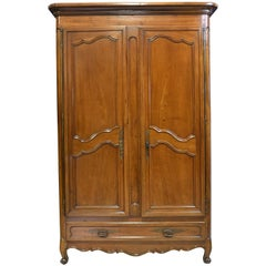 18th Century Tall French Lyonnaise Louis XV Armoire in Walnut
