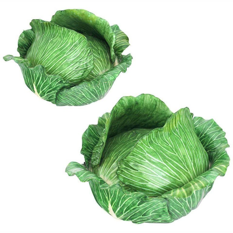 Cabbage Head Pair of Trompe L'Oeil Faïence Terrines For Sale