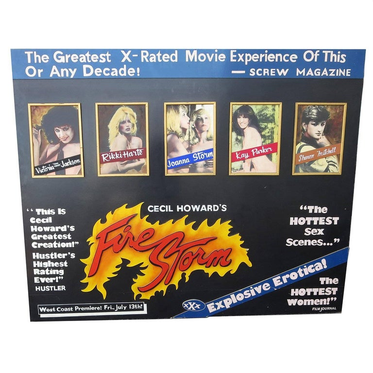 "Hand-Painted Erotic Movie Poster for Cecil Howard's ""Fire Storm"" 1984 For Sale"