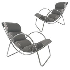 Pair of Halliburton Lounge Chairs, 1930s Art Deco Machine Age Modernist Design