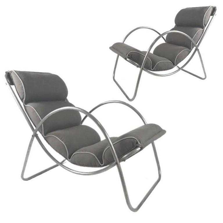 Pair of Halliburton Lounge Chairs, 1930s Art Deco Machine Age Modernist Design