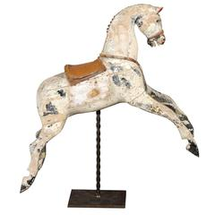 English Late 19th Century Large Wooden Horse with Saddle on Twisted Metal Stand