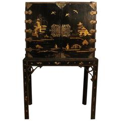 English Ebony Cabinet on Stand