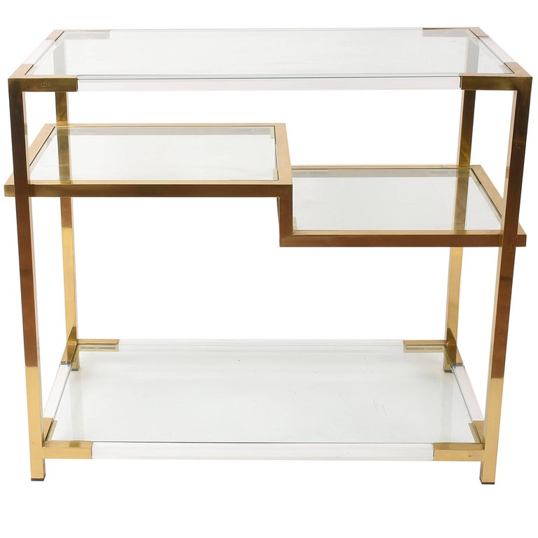 Romeo Rega Console Table Lucite Glass Gold Brass, Italy, 1970s