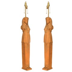 Pair of English Regency Style '19th-20th Century' Egyptian pilaster Table Lamps
