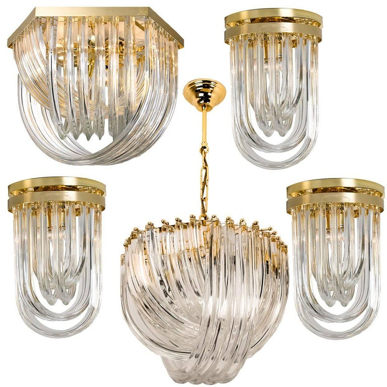Impressive Venini Light Fixtures, Curved Crystal Glass and Gilt Brass, Italy