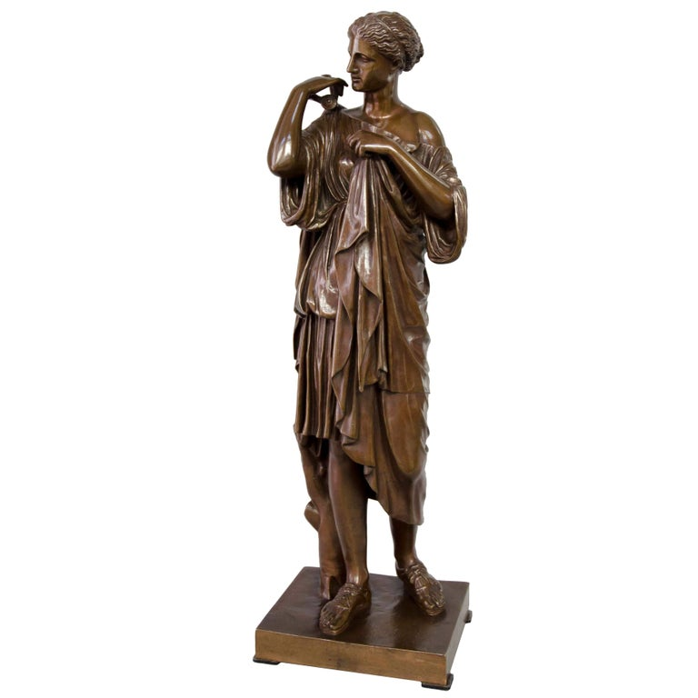 19th Century French Brown Bronze Diana of Gabii, Barbedienne Founder Paris