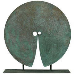 Harry Bertoia Patinated Solid Bronze Gong Sculpture, USA, 1970s