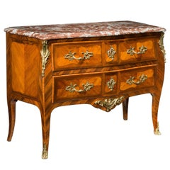 Louis XV Bombe Kingwood Commode with Quartered Drawer Fronts