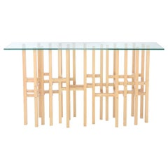 Europa 'In Stock' Modern Industrial Hall Table with Glass Top Metal & Maple Wood