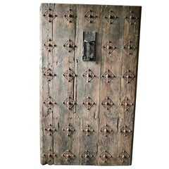 Large 17th Century Spanish Chestnut Wood Door with Iron Hardware