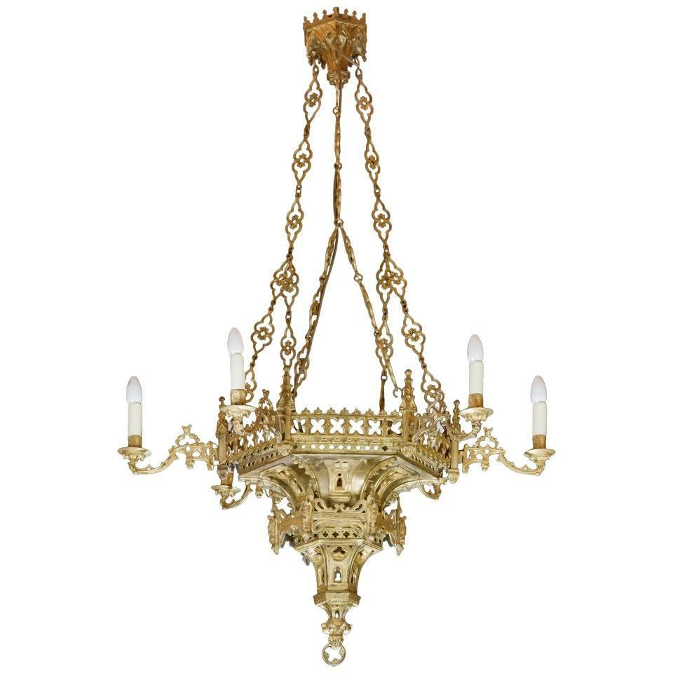 Gilt Bronze Gothic Chandelier For Sale at 1stdibs