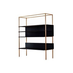 Modern Clean Lined Copper and Black Powder Coated Steel Metal Shelf Library