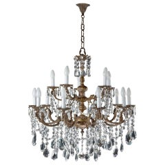 19th Century Crystal and Gilt Bronze Fifteen-Arm Chandelier