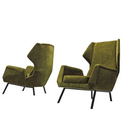 Set of Two Green Velvet Easy Wingback Chairs