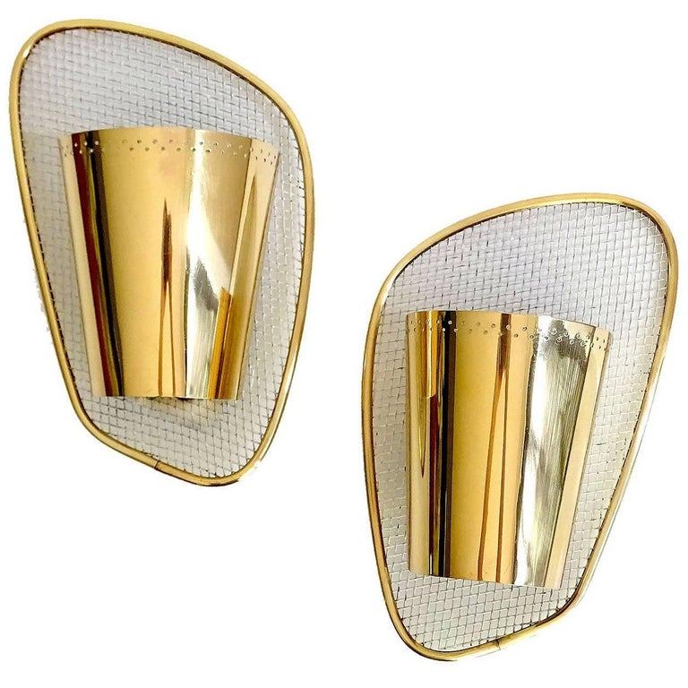 Pair of Midcentury Louvered Brass Sconces, Stilnovo Gio Ponti Era