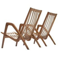 Pair of High Back Armchairs in Oak