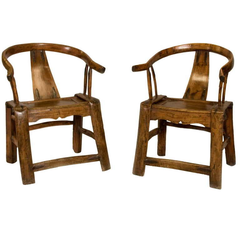 Pair of 19th Century Chinese Yoke Back Chairs For Sale