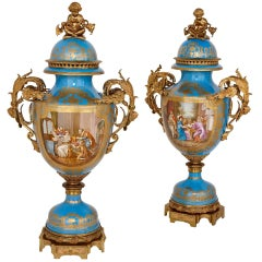 Monumental Pair of Gilt Bronze-Mounted Sevres Style Porcelain Vases