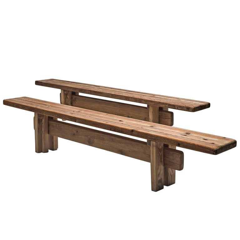 Pair of French Benches in Pinewood