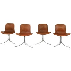Set of Four PK-9 Chairs by Poul Kjaerholm for E. Kold Christensen, 1960s