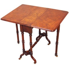 Antique 19th Century Burr Walnut Baby Sutherland Table