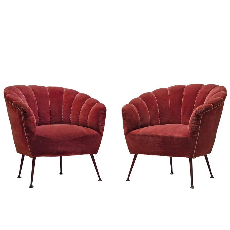 Italian Armchairs in Red Velvet and Brass