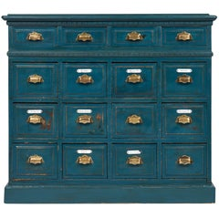 Teal Antique Apothecary Cabinet