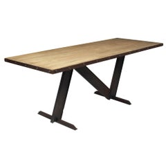 Cerused Wood Topped Industrial Dining Table
