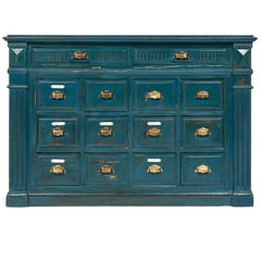 Antique French Teal Apothecary Cabinet