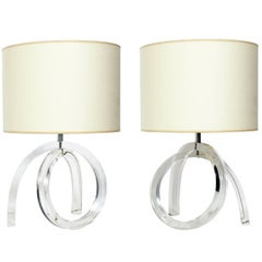 Pair of Sculptural Lucite Lamps