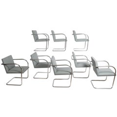 Set of Eight Stainless Steel Brno Chairs by Mies van der Rohe for Knoll Inc.